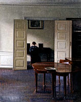 Vilhelm Hammershøi: Interior with Ida Playing the Piano