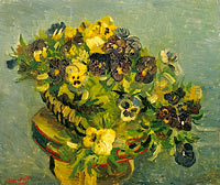 Винсент Ван Гог: Basket of pansies on a small table
