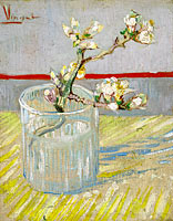 Vincent van Gogh: Sprig of flowering almond in a glass