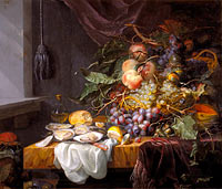 Jacob van Walscapelle: Still Life with fruit and oysters