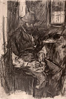 Вильгельм Мария Хубертус Лейбль: Farmer at a Table, Stuffing His Pipe, 1894