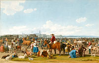 Wilhelm von Kobell: Cattle Market before a Large City on a Lake, 1820