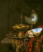 Виллем Кальф: Pronk Still Life with Holbein Bowl, Nautilus Cup, Glass Goblet and Fruit Dish