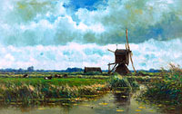 Willem Roelofs (I): Polder landscape with windmill near Abcoude