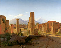 Christen Købke: The Forum, Pompeii, with Vesuvius in the Distance