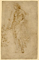 Female Figure with a Tibia, and Ornamental Studies (recto); Ornamental Studies (verso)