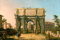 View of the Arch of Constantine with the Colosseum
