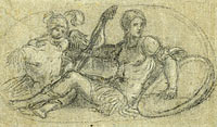 Seated Male Figure with Putto and Armor