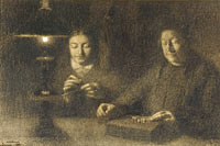 La mère et la femme de l'artiste cousant à la lumière d'une lampe ('The mother and wife of the artist sewing by lamplight')