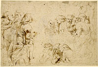 Three Groups of Apostles in a Last Supper (recto); Three Sketches for Medea and Her Children (verso)