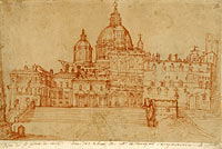 View of Saint Peter's (recto); Study of a Young Man (verso)