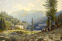 Thomas Ender: View of the Residence of Archduke Johann in Gastein Hot Springs