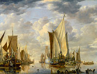 Jan van de Cappelle: Shipping in a Calm at Flushing with a States General Yacht Firing a Salute