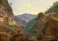 Jean-Charles-Joseph Rémond: Mountain Landscape with Road to Naples