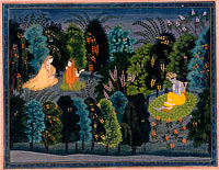 "Companion Persuading Radha as Krishna Flutes, Folio from the ""Lambagraon"" Gita Govinda (Song of the Cowherd)"