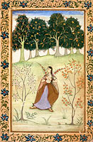 Unknown Painter: Gauri Ragini, First Wife of Malkos Raga, Folio from a Ragamala (Garland of Melodies) (2)