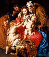 Peter Paul Rubens: The Holy Family with St. Elizabeth, St. John, and a Dove