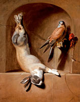 Дирк де Брей: Still Life with Dead Hare and Falcon in a Niche