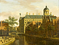 The Nieuwezijds Voorburgwal with the Flower and Tree Market in Amsterdam