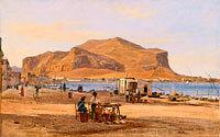Martinus Rørbye: Palermo Harbor with a View of Monte Pellegrino