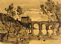 River Landscape with Bridge and House
