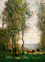 Wooded Landscape with Cows in a Clearing