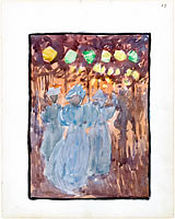 13r. Night scene with three women in blue; 13.v Blank