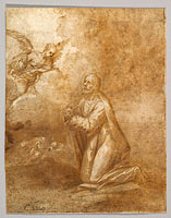 Christ on the Mount of Olives; verso: Study of a Cypress