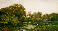 A River Landscape with Storks