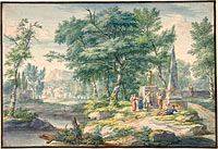 Arcadian Landscape with Figures Making Music