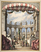 Design for a Stage Set: A Classical Courtyard and Colonnade with a Statue of Minerva