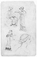 Two Female Figures; One Male Figure Seated (from Sketchbook)