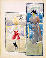 10r. A young girl and a woman gazing out to sea; 10v. Blank