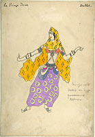 Costume design for Polovtsian girl in Prince Igor
