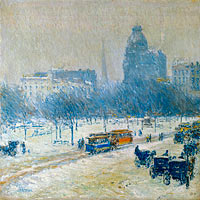 Frederick Childe Hassam: Winter in Union Square