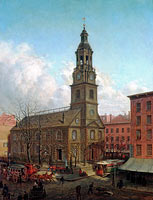 Edward Lamson Henry: The North Dutch Church, Fulton and William Streets, New York