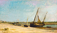 Шарль-Франсуа Добиньи: Boats on the Seacoast at Étaples