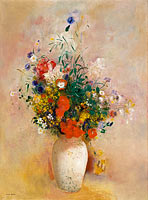 Odilon Redon: Vase of Flowers (Pink Background)