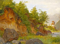 Луи Гюрлит: Landscape with a Castle on the River Etsch