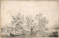 Якоб Исаакс ван Рёйсдал: Canal Landscape with a Fisherman