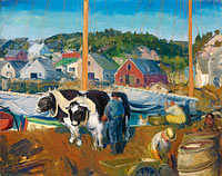George Bellows: Ox Team, Wharf at Matinicus