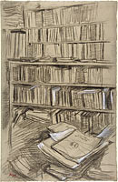 Bookshelves, Study for Edmond Duranty