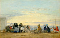Eugène Louis Boudin: On the Beach, Sunset
