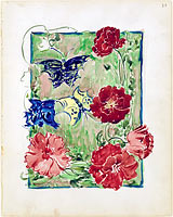 32r. Flowers and butterflies; 32v. Design for a bicycle poster
