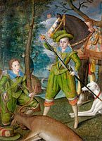 Robert Peake the Elder: Henry Frederick (1594–1612), Prince of Wales, with Sir John Harington (1592–1614), in the Hunting Field
