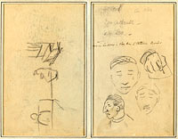 Two Figures and a Bench; Three Studies of Men's Heads and One of a Hand (recto)