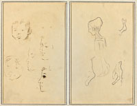 Two Studies of a Child's Head; Two Studies of a Child's Head, a Woman in Profile, and a Man Wrestling an