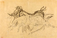 "Racehorses (study for ""Scene from the Steeplechase: The Fallen Jockey"")"
