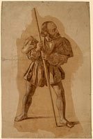Figure Costume Study for Columbus Mural, Washington, D.C., in or after 1837