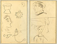 A Caricature and Five Forms; A Man in Profile, a Winged Creature and a Boy (verso)
